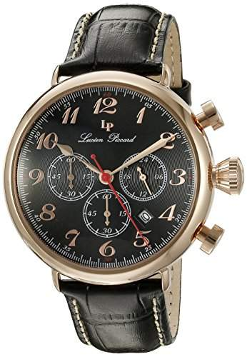 Lucien Piccard Trieste Herren-Armbanduhr 46mm Armband Leder Schwarz Gehaeuse Edelstahl Quarz 72415-RG-01