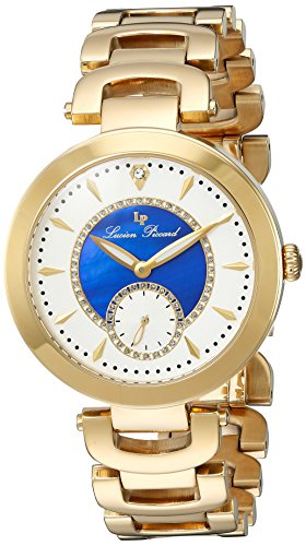 Lucien Piccard 10268 Yg 22 Bla Casablanca Gold Tone Stainless Steel White Blue Mop Dial Watch