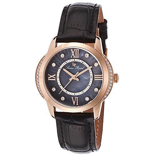 Lucien Piccard Dalida 36mm Armband Leder Schwarz Gehaeuse Edelstahl Quarz 40001 RG 01
