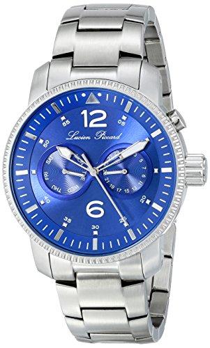 Lucien Piccard Herren 44mm Silber delstahl Armband Gehaeuse Datum Uhr 13017 33