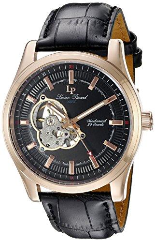 LUCIEN PICCARD HERREN Mechanische Uhr mit schwarzem Zifferblatt Analog Anzeige und schwarz Lederband lp 40006 m rg 01