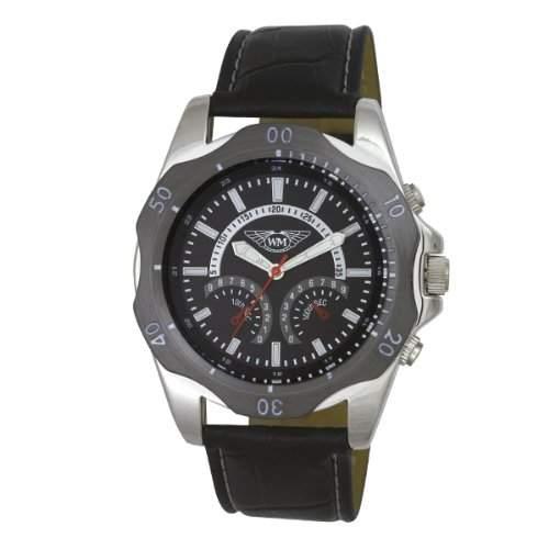 Wingmaster Eye MenDecorative Multi-Sport-Quarz-Uhr mit schwarzem Zifferblatt Analog-Anzeige und WM00571 schwarz Kunststoffarmband