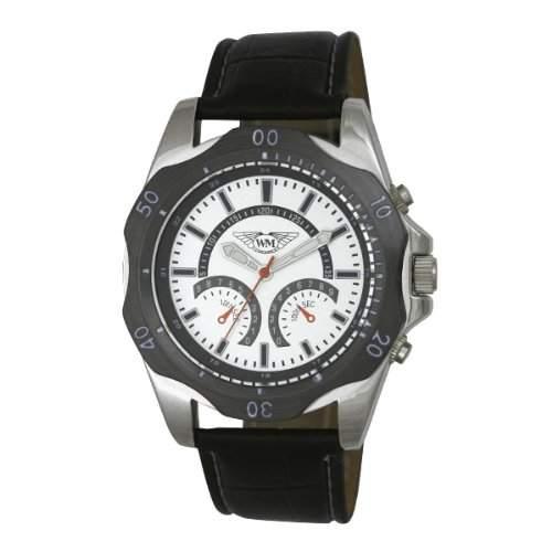 Wingmaster Eye MenDecorative Multi-Sport-Quarz-Uhr mit weissem Zifferblatt Analog-Anzeige und WM00573 schwarz Kunststoffarmband