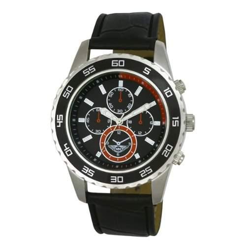 Wingmaster Eye MenDecorative Multi-Sport-Quarz-Uhr mit schwarzem Zifferblatt Analog-Anzeige und WM00588 schwarz Kunststoffarmband