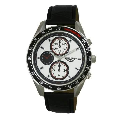 Wingmaster Eye MenDecorative Multi-Sport-Quarz-Uhr mit weissem Zifferblatt Analog-Anzeige und WM00591 schwarz Kunststoffarmband