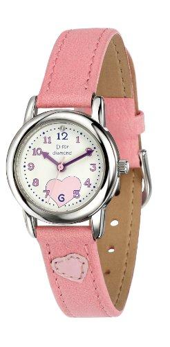 D for Diamond Maedchen Armbanduhr Analog Quarz Leder Z783