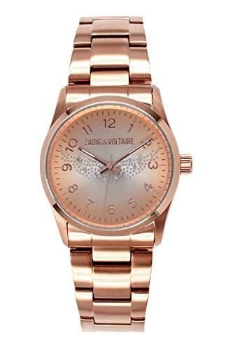 Zadig Voltaire &ZV 0062TM-Rock Damen-Armbanduhr Alyce Quarz analog Stahl vergoldet Rosa