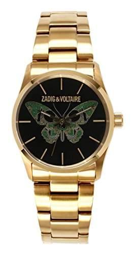 Zadig Voltaire &ZV032 1AM-Rock Damen-Armbanduhr Alyce Quarz analog Stahl goldfarben beschichtet