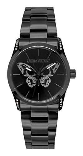 Zadig Voltaire ZV &032S3AM-Rock Damen-Armbanduhr Alyce Quarz analog Stahl vergoldet, schwarz