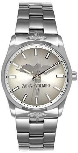 Zadig & Voltaire ZV 055FM Rock Damen-Armbanduhr, Quarz, analog, silberfarbenes Zifferblatt, silberfarbenes Armband aus Stahl