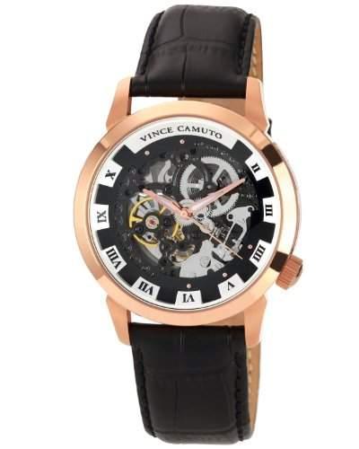Vince Camuto MenAutomatik-Uhr mit schwarzem Zifferblatt Analog-Anzeige und schwarzem Lederarmband 1007BKRGVC