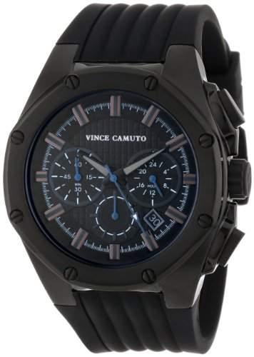 Vince Camuto Herren-Quarzuhr mit schwarzem Zifferblatt Analog-Anzeige und schwarz Silikon Armband VC1032bkti