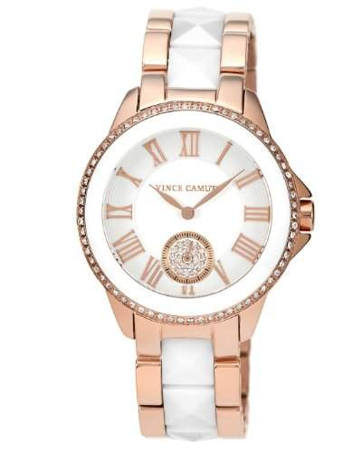 Vince Camuto Unisex-Quarz-Armbanduhr mit silbernem Zifferblatt, Analog-Zifferblatt, weißes Keramik-Armband VC5046WTRG