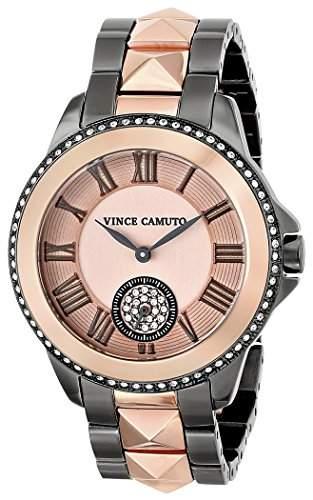 Vince Camuto Damen-Quarzuhr mit schwarzem Zifferblatt Analog-Anzeige und Gold Keramik Armband VC5046bkgb