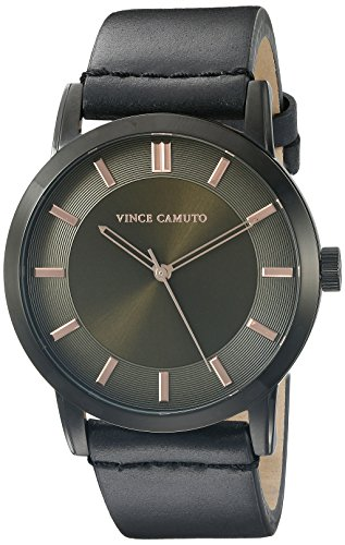 Vince Camuto Herren VC 1079gnbk schwarz Lederband Armbanduhr