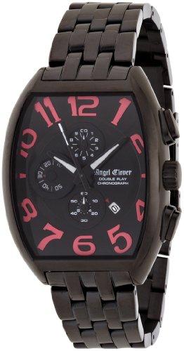 Angel Clover Herren Unisex Uhr Double Play Schwarz Pink Zifferblatt aus PVD Gehaeuse Edelstahl BK PVD Guertel Datum Chronograph DP38BBP