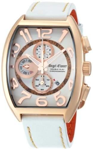 Angel Clover Herren Unisex-Uhr Double Play Weisses Zifferblatt Kalbsleder Guertel Datum Chronograph DP38PWH-WH