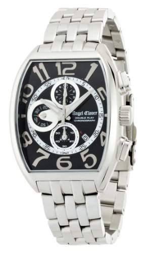 Angel Clover Herren Unisex-Uhr Double Play Schwarz  Silber-Zifferblatt Datum Chronograph DP38SBK