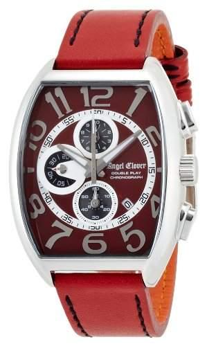 Angel Clover Herren Unisex-Uhr Double Play Red Wahlkalbsleder Guertel Datum Chronograph DP38SRERE