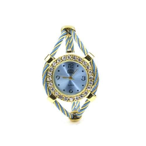BestOfferBuy E72600-P Damen Goldton Strass Verdrehtes Band Armbanduhr Blau