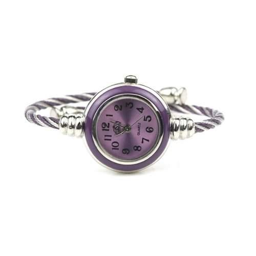 BestOfferBuy E73109-P Damen Silber Classic VerdrehtesBand Armband Runde Armbanduhr Schwarz