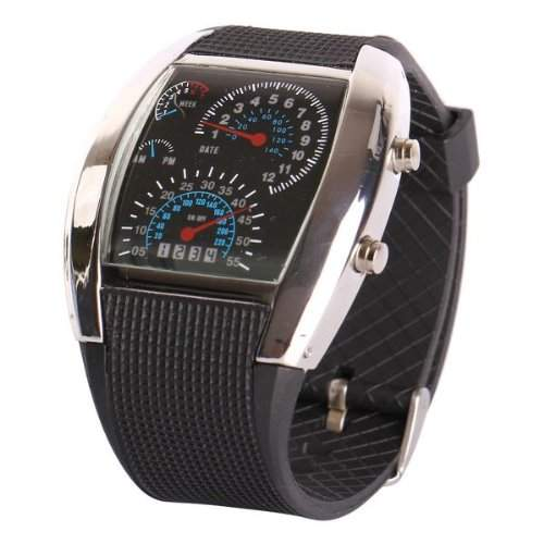 Fashion Aviation Speedometer blaue LED Armbanduhr Silber Ziffernblatt schwarz