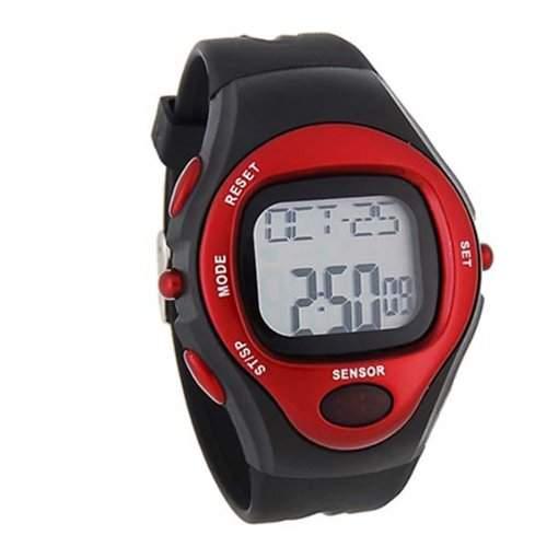 BestOfferBuy Digital Silikon Sportuhr Herzfrequenz Sensor Messgeraet Silber