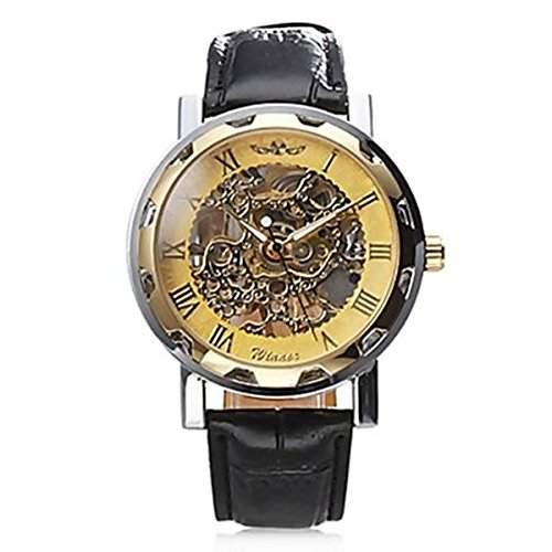 BestOfferBuy Armbanduhr Gold Transparent Uhrwerk Mechanisch Kunstleder Band