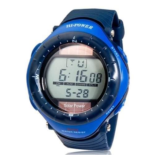 BestOfferBuy E73127-P Unisex Solar Digital Sport Silikon Armbanduhr 0405M Rot