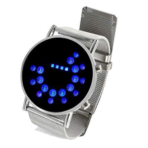 BestOfferBuy LED Runde Spiegel Blaue Kreise Edelstahl Armbanduhr
