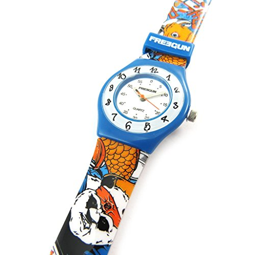Armbanduhr french touch Freegun orange blau slim