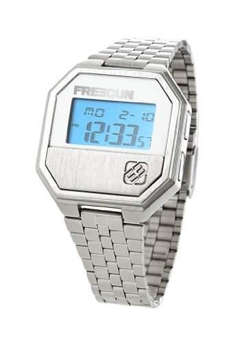 Freegun Herren-Armbanduhr Freegun-EE5102-Montre homme-Digital-Boitier métal-Ecran bleu-Bracelet méta