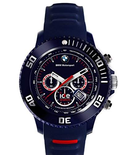 Original BMW Motorsport Ice Watch Chrono Armbanduhr Uhr unisex in Dunkelblau mit Rot, Big