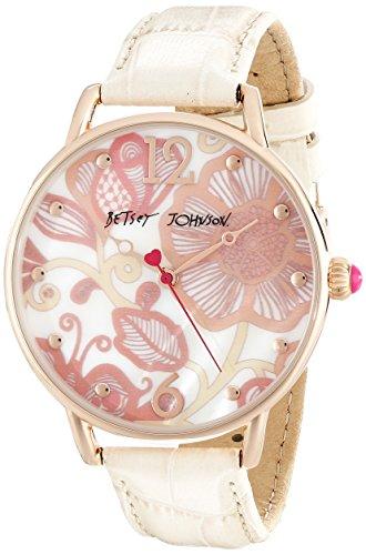 Betsey Johnson bj00207 06 Damen Slim Pink Floral weiss Mop Zifferblatt weiss Lederband Armbanduhr