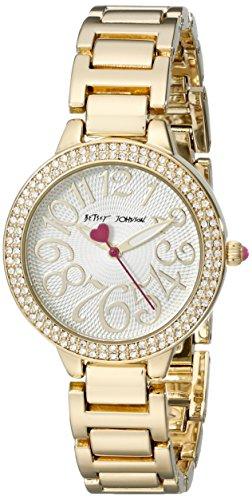 Betsey Johnson bj00235 01 Damen Kristall Luenette Weiss Zifferblatt Gelb Gold Stahl Armband Armbanduhr