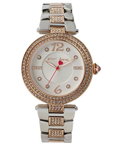 Betsey Johnson bj00451 03 Damen Weiss Zifferblatt Zwei Ton Armband Kristall Armbanduhr