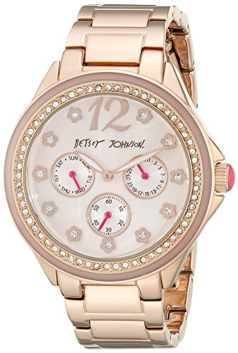 Betsey Johnson bj00474 03 Damen Kristall Luenette MOP Zifferblatt Rose Gold Stahl Armband TAG DATUM Armbanduhr