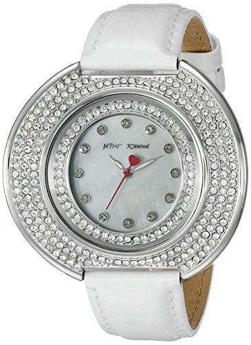 Betsey Johnson bj00486 01 weiss der Dame Mop Zifferblatt kristallisierte Luenette Lederband Armbanduhr