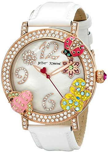Betsey Johnson 44mm Armband Kalbsleder Weiss Gehaeuse Metall Quarz Analog BJ00364 03