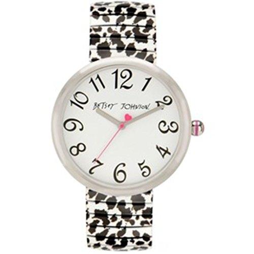 Betsey Johnson Damen Analog Printed Snow Leopard Expansion Band Armbanduhr bj00039 01