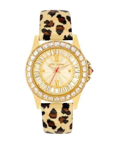 Betsey Johnson Damen-Armbanduhr Analog Quarz Leder BJ00004-02
