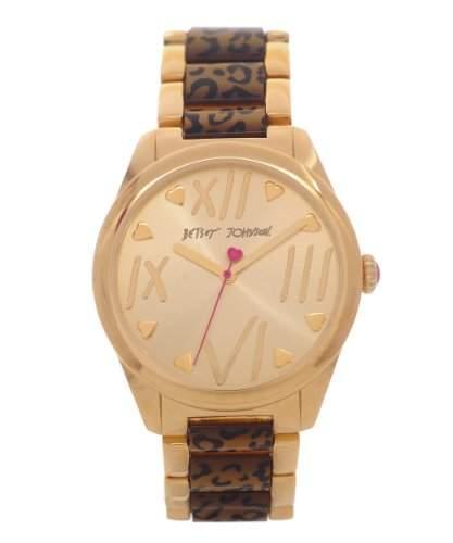 Betsey Johnson Damen Quarzuhr mit Gold Zifferblatt Analog-Anzeige und-Armband bj00105-02