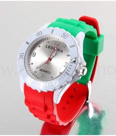 Italien Italy Iran Silikon Uhr Silikonuhr Armbanduhr Trend 2012 Unisex Look Kautschuk Gummi gruen weiss rot**NEU**OVP*