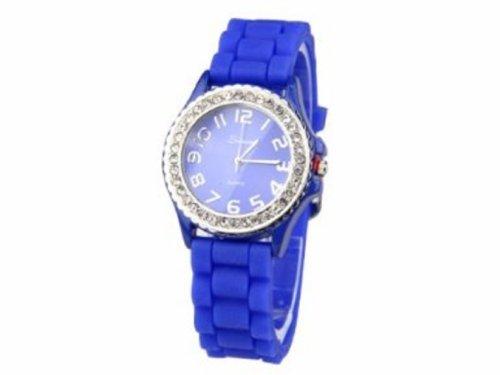 Armbanduhr UR 09mix i Watch Silikon Strass Silikonuhr Uhr Rainbow Viper Leonira blau