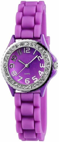 Armbanduhr UR 09mix i Watch Silikon Strass Silikonuhr Uhr Rainbow Viper Leonira lila