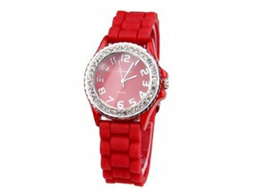 Armbanduhr UR 09mix i Watch Silikon Strass Silikonuhr Uhr Rainbow Viper Leonira rot