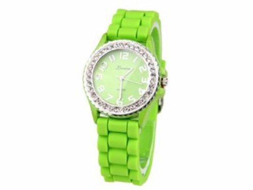 Armbanduhr UR 09mix i Watch Silikon Strass Silikonuhr Uhr Rainbow Viper Leonira gruen