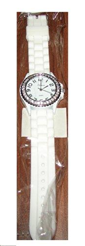 Armbanduhr UR 09mix i Watch Silikon Strass Silikonuhr Uhr Rainbow Viper Leonira weiss
