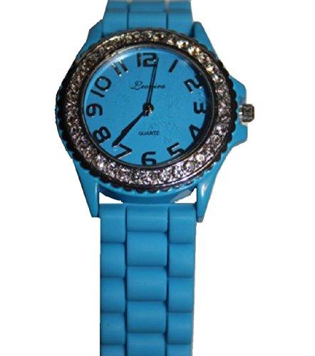 Armbanduhr UR 09mix i Watch Silikon Strass Silikonuhr Uhr Rainbow Viper Leonira hellblau