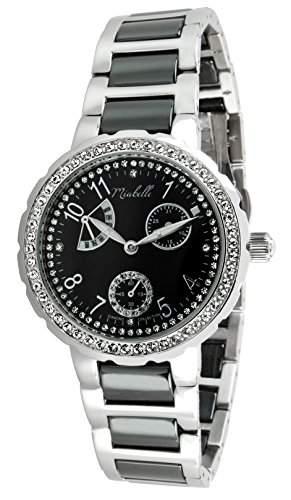 Miabelle Damen-Armbanduhr Analog Quarz Edelstahl Keramik Diamanten Swarovski Elemente - 12-001W-J